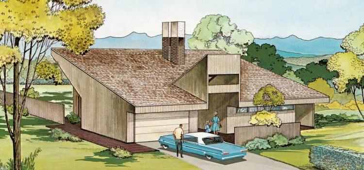 The Red Cedar House, diseñada por Ralph Rapson, una casa modelo creada específicamente para Jonathan, Minnesota. Imagen a través de USModernist.com